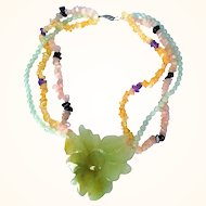 1970's Natural Gems Necklace  Hand Carved Aventurine Flower Rose  Quartz, Yellow Quartz Light Green  Chalcedony Beads
