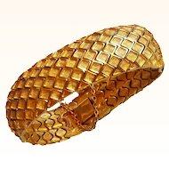 Hattie Carnegie  Stunning Designer Bangle Bracelet  Honeycomb Design Flexible 18 KT GP