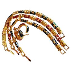 "Joan Rivers- Rare ""Hugs And Kisses"" 3 Line Bracelets/Earrings Set Gem Colors Enamel 18 KT GP"