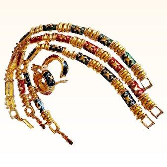 "Superb ""Hugs And Kisses"" High End Bracelets/Earrings Set Enameled Jewel Colors 18 KT GP"