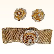 "Kirks Folly-Golden Mesh Bracelet  Clip On  Earrings Crystal Encrusted ""Rambling Rose""  Demi-Parure"