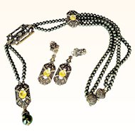 Heidi Daus Art Deco Style Lariat Necklace/Earrings Set  Lustrous Green  Glass Pearls Ornate Bronze Rubbed Metal