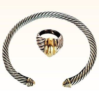 David Yurman- 1980's Bangle Bracelet/ Ring Set Signature Cable 925 Sterling Silver & 14KT Gold