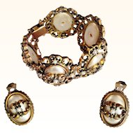 Statement Victorian Revival Bracelet/Earrings Set Faux Oval Mabe Pearls Ornate Bronze Metal
