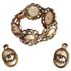 Statement Victorian Revival Bracelet/Earrings Set Faux Oval Mabe Pearls Ornate Bronze Metal