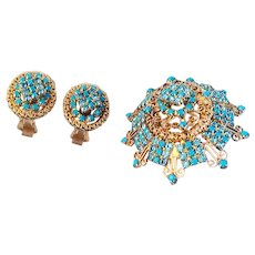 Hobe Spectacular Brooch/Earrings  Filigree Set Faux Turquoise Blue  Crystals 18 KT GP