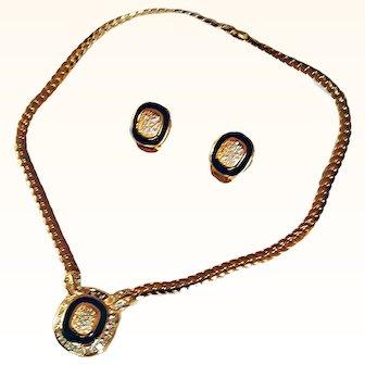 CHRISTIAN DIOR   Exquisite Choker Necklace/Earrings Set  Black Enamel C Link Chain Swarovski Crystals 18 KT GP