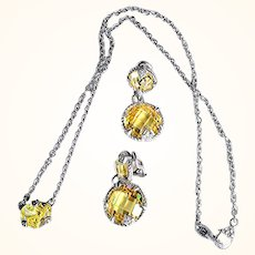 Judith Ripka Designer Earrings/Pendant/Necklace Set  925 Sterling Silver 18 KT Gold, Canary Cubic Zirconium, White Sapphires