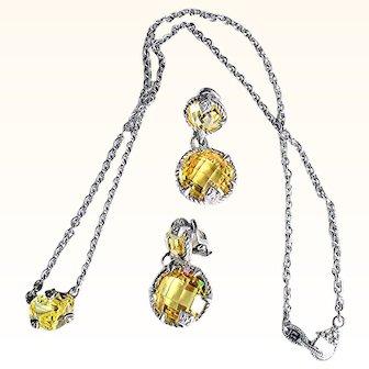 Judith Ripka Designer Earrings/Pendant/Necklace Set  925 Sterling Silver 18 KT Gold, Canary Cubic Zirconium, White Sapphires