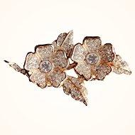 Joan Rivers -Unique  Duette  Brooch/Earrings Set Swarovski Crystals 18 KT GP