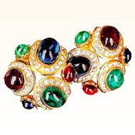 Ciner- Couture Mogul Style Earrings Gripoix Art Glass Swarovski Crystals 18 KT GP Signed Clip-On