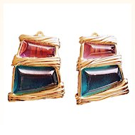 Givenchy  Runway Rare Clip-On Earrings1980's Signed Free Form Purple Green  Lucite