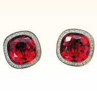 Daniel Swarovski Company (DSC)_ Signed  1980's Rare Clip-On Earrings Huge Faceted  Square Red Crystals 18KT GP