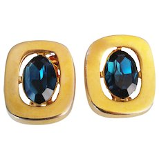 Sphinx Vintage  1980's Signed  Unique  Clip-On Earrings Oval Teal Blue Crystal  Gold Tone