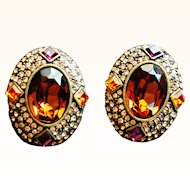 Heidi Daus-  1990's Large Clip On Earrings Oval Topaz Swarovski  Crystals Tastefully Yours Bronze Tone