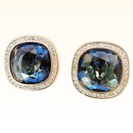 Daniel Swarovski Company- 1980's Signed Rare Clip-on Earrings Button-Style  Huge Faceted  Square Navy Blue Crystal In 18KT GP