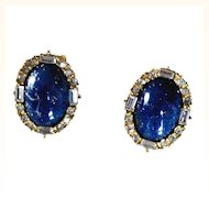 Christian Dior Opulent Lapis Lazuli Earrings Oval Glass Cabochons Clear Crystals 18 KT GP