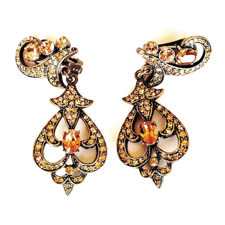 Heidi Daus Chandelier Earrings Clip On Amber Taupe Swarovski Crystals Bronze Rubbed Metal