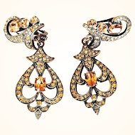 Heidi Daus   Chandelier Earrings Clip-On Amber Taupe Swarovski Crystals Bronze Rubbed Metal
