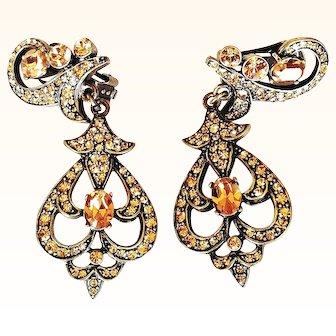Heidi Daus   Chandelier Earrings Clip-On Amber Taupe Swarovski Crystals Bronze Rubbed Metal