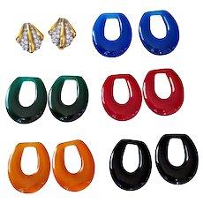Joan Rivers  Retired Interchangeable Hoop Earrings Wardrobe Six Looks Swarovski Crystals Lucite 18 KT GP