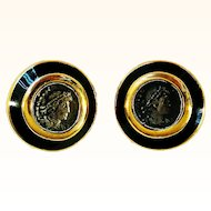 Ciner  1970's Stylish Earrings Faux Ancient Greek Coin Black Enamel 18 KT GP Clip-On