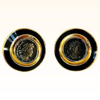 Ciner  1970's Stylish Earrings Faux Ancient Greek Coin Black Enamel 18 KT GP Clip-On