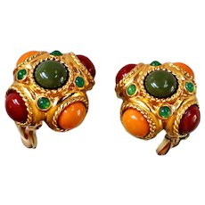 """Joan Rivers  """"Tuscany"""" Button Earrings Clip On Amber, Orange, Olive  Lucite Cabochons 18 KT GP"""