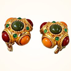 "Joan Rivers  ""Tuscany"" Button Earrings Clip On Amber, Orange, Olive  Lucite Cabochons 18 KT GP"