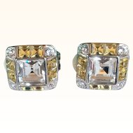 Joan Rivers- Magnificent Square Earrings Clear/Canary Diamond Swarovski Crystals Rhodium Plated