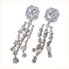 Dazzling  Long Dangling  Earrings Cubic Zirconia Festive Omega Clip Rhodium Plated Signed
