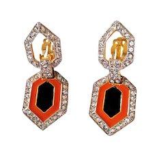 Kenneth Jay Lane- Art Deco Style Dangling Earrings Clip On Enamel Swarovski Crystals 18 KT GP