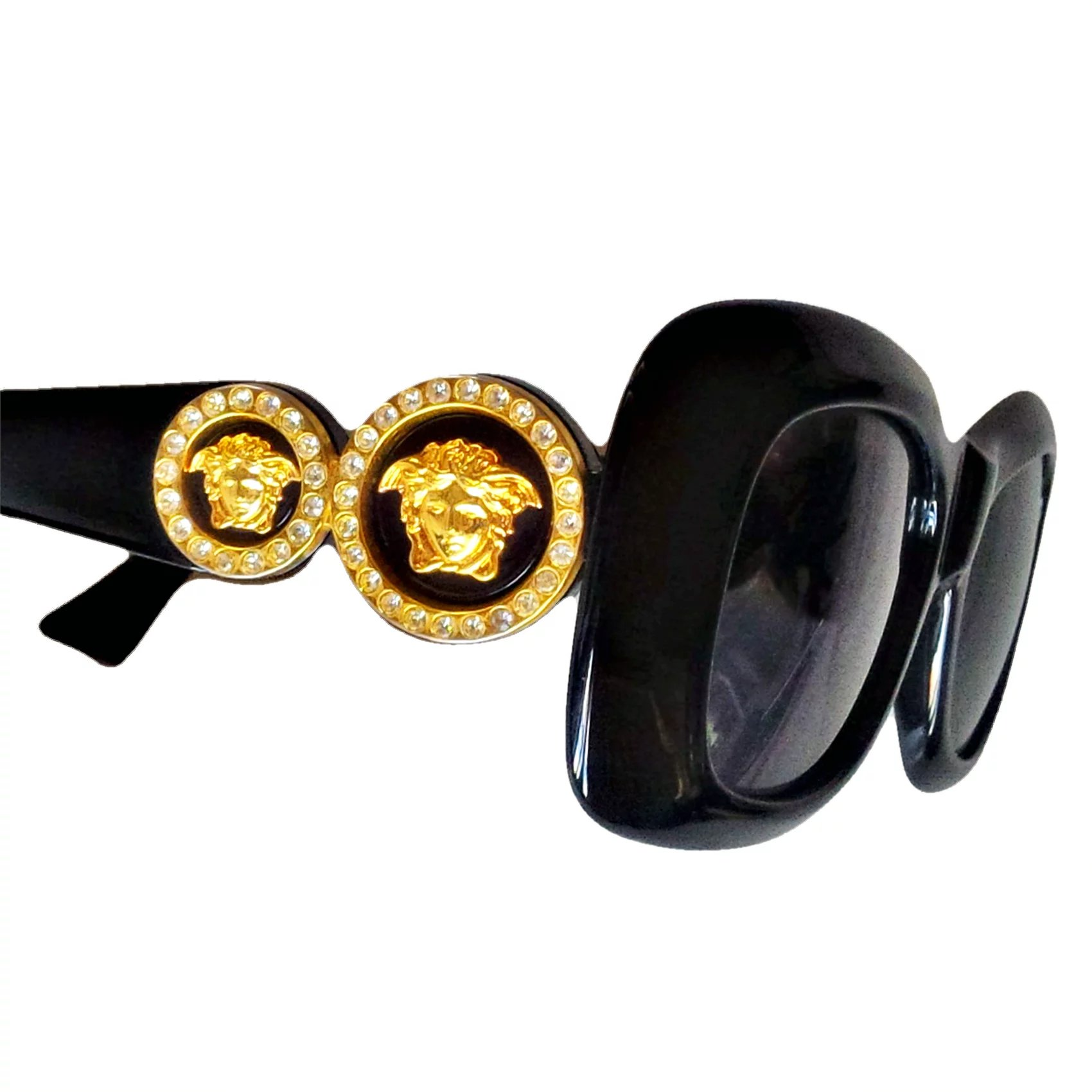 eadafc8ed6d03 Gianni Versace 417 C Black Sunglasses Double Gold Medusa Rectangular Col.852  18 KT. Click to expand