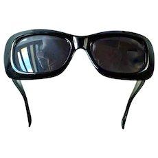 Gianni Versace  417/C  Black Sunglasses Double Gold Medusa Rectangular Col.852 18 KT GP Clear Swarovski Crystals.