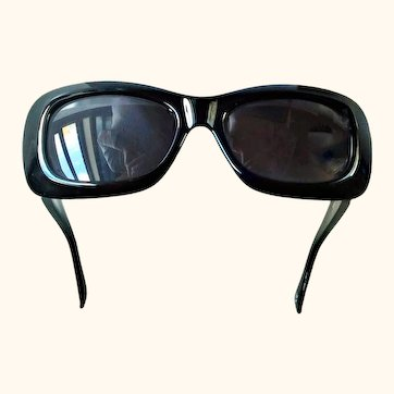 Gianni Versace  417/C  Black Sunglasses Double Gold Medusa Rectangular Col.852 18 KT GP Clear Swarovski Crystals.