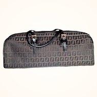 Fendi 1990's Rare Satchel Handbag  Monogram Logo Jacquard Brown Zucchino Print Leather Trimmings