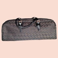 Fendi 1990's Rare Satchel Handbag  Monogram Logo Jacquard Brown Zucchino Print Leather Trimmings