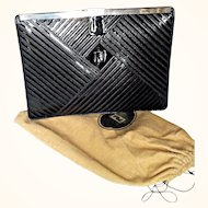 Fendi 1980's Clutch  Signature Stiching Design Patent Black Leather Unique Closure Silver Tone Metal Clasp