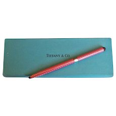Tiffany & Co.  Elegant Vintage Ball Pen 925 Sterling Silver Pink Enamel Diamond Design Motif