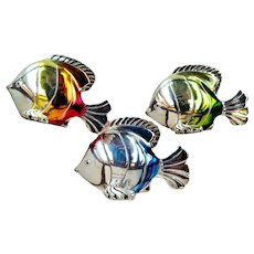 Handcrafted Sterling Silver Trio  Fish  Sculptures Ombre  Enamel Signed Hazorfim