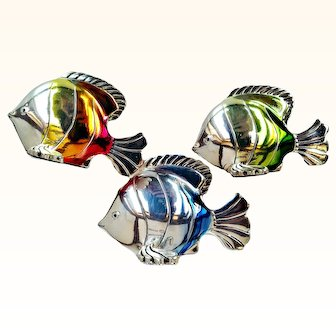 Home Art Sterling Silver Handcrafted Fish Trio Sculptures Ombre  Enamel Signed Hazorfim Israel
