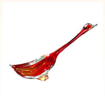 Murano Archimede Seguso-Rare Duck Sommerso Sculpture Handcrafted Art Glass