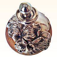 King Solomon Finds- Collectible Hand Sculptured Perfume Bottle Art Glass Sterling Silver Overlay
