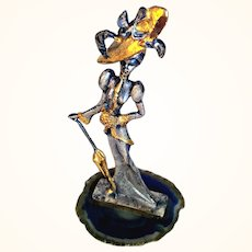 Artisan Hand Chiseled Pewter Figurine Victorian Lady 999 Sterling Silver/ Gold Rubbed Agate Stand By Valpetro