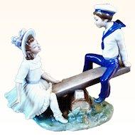 Lladro #1295-Retired 1974 Seesaw Vincente Martinez Artist Signed Figurine Lladro Porcelain