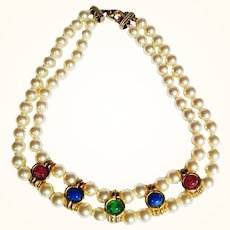 Couture Statement Mogul Style Choker Gripoix  Art Glass Cabochons Faux Pearls 18 KT GP