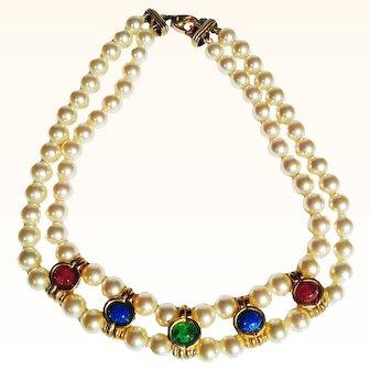 Couture Statement Mogul Style Choker Gripoix  Art Glass Cabochons Faux Pearls 18 KT GP