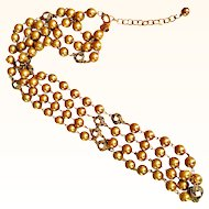 "Joan Rivers  Fabulous Sautoir Necklace Faux Gold Glass Pearls 30"" Long 18 KT GP"