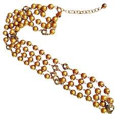 "Joan Rivers  Fabulous Sautoir Necklace Faux Gold Glass Pearls 30"" Long 18 KT GP"
