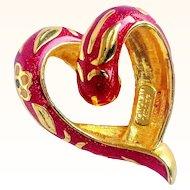 Nolan Miller- Signed Slide/Pendant Cloisonné Red Enameled Heart With Flowers